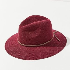 NWT Urban Outfitters Maddie Woven Red Panama Hat